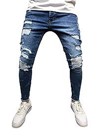 2a8eb874c8 Hombres Zip Jogger Pantalones Vaqueros de Socorro Pantalones Vaqueros Rotos  de Cintura Alta Pantalones Laterales a