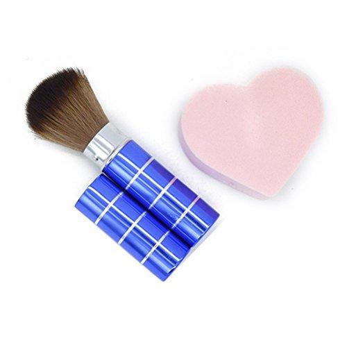 Frcolor Brosse de Maquillage Poudre blush Brosse rétractable télescopique Brosse (Bleu)