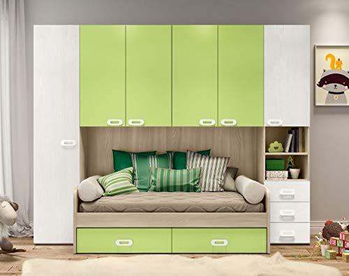 Cameretta ponte mod. zanzibar reversibile colore in foto: olmo astoria - bianco frassinato - verde.