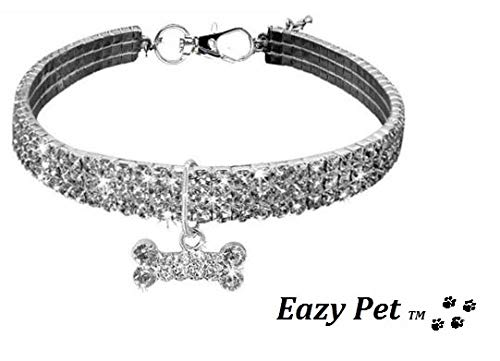 Toy Poodle Dog Collar Necklace Part Designer Wear Bling Sparkle Celebrity Pet Collar With Crystal Gems And Sparkly Swarovski Bone Pendant Size Small