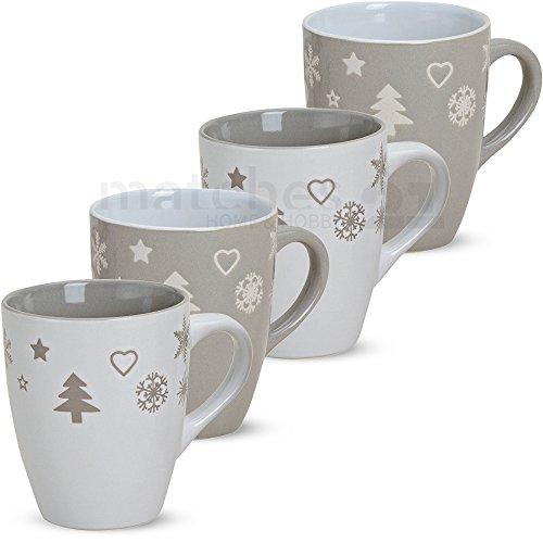 matches21 Becher Tassen Kaffeetassen Kaffeebecher Weihnachtsmotive Weihnachtsdekor Weihnachtstassen grau/weiß 4-tlg. Set Keramik je 11 cm / 300 ml