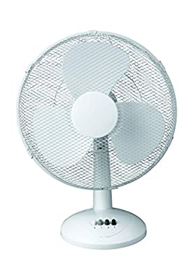 Fine Elements Oscillating Desk Fan, 16-Inch, White