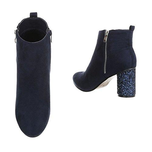 Chaussures Pour Femmes Bottes Talon Chaton Classic Booties Ital-design Bleu Foncé