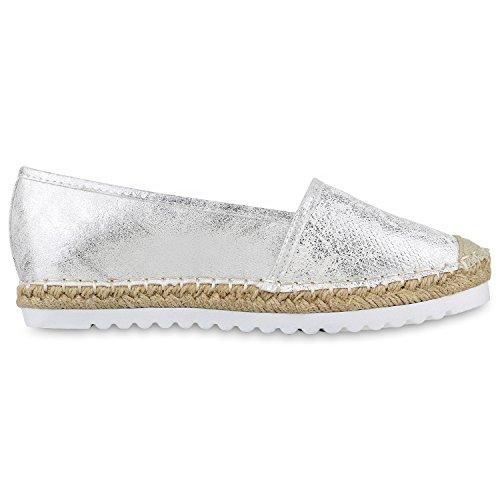 Damen Slippers Metallic Bast Espadrilles Profilsohle Flats Sommerschuhe Denim Print Schuhe Blumen Glitzer Stoffschuhe Jennika Silber