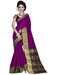 Reeva Trendz Women'S Tassar Silk Purple Color Saree With Blouse Piece