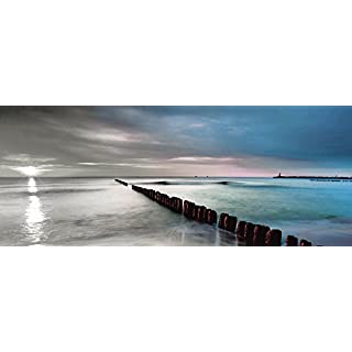 Artland Qualitätsbilder I Glasbilder Deko Glas Bilder 125 x 50 cm Landschaften Gewässer Meer Foto Blau B2XM Ostsee Sonnenaufgang Strand