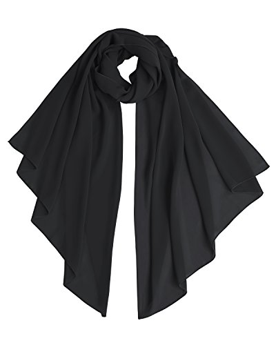 Bridesmay Chiffon Stola Schal für Hochzeit in verschiedenen Farben Black S 180cm*72cm (Schals Frauen Für)