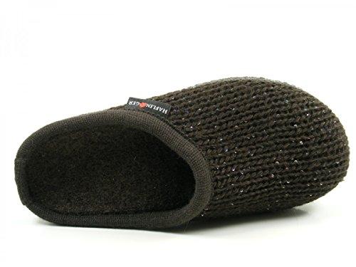 Haflinger 611087 Walktoffel uni Chaussons mixte adulte Braun