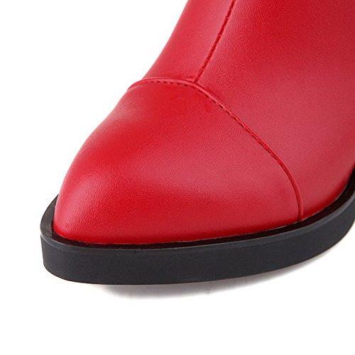 VogueZone009 Damen Lackleder Spitz Zehe Rein Niedrig-Spitze Hoher Absatz Stiefel Rot