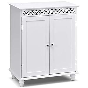 COSTWAY Badezimmerschrank freistehend, Badschrank aus Holz, Badkommode, Küchenschrank, Beistellschrank, Sideboard…