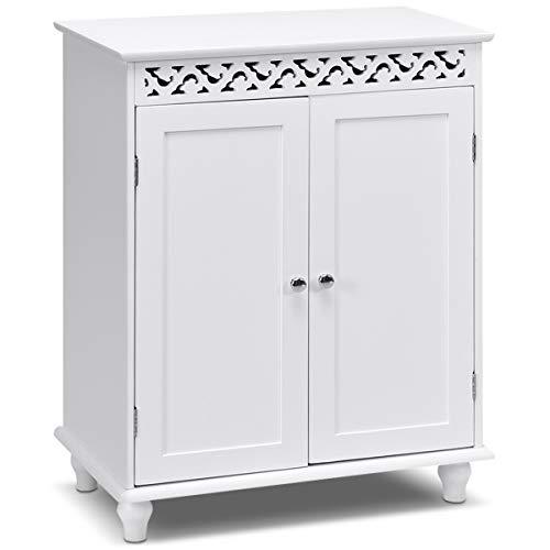 COSTWAY Badschrank weiß, Sideboard Holz, Beistellschrank mit Ablage, Anrichte Badezimmer, Kommode Flur