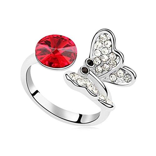 Epinki anello placcato oro per donna fedi nuziali luce rosso farfalla doppio cristallo anello misura 15