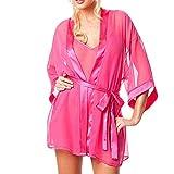 MRULIC 1Set Damen Dessous Transparent Nachtwäsche Unterwäsche Bademantel Frühling und Sommer Nachtwäsche Leicht und Bequem(Pink,EU-42/CN-2XL)