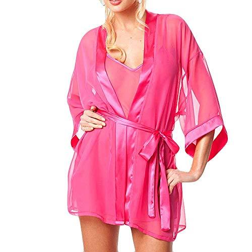 SUMTTER Einfarbig Groß Bademantel Sexy Spitze Blütenspitze Damen Unterwäsche SchnüRen Set Dessous Set Schlafanzug Damen Nachthemd