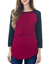 2fed4c3467fbf Smallshow Nursing Tops Women's Long Sleeve Striped Floral Breastfeeding T  Shirt