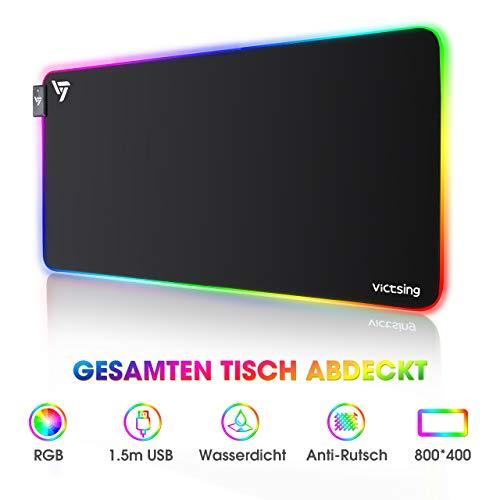 VicTsing RGB Mauspad , Gaming mousepad Led, XXL, 12 Beleuchtungs Modi, 800x400x4 mm, große mousepad, langlebig, rutschfest, wasserdicht, flacher, für Gamer/Büro, Schwarz