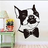 Zlxzlx Niedlichen Hundekopf Fliege Boston Terrier Wandaufkleber Wasserdichte Kunst Vinyl Aufkleber Für Kinder Schlafzimmer Wohnkultur44 * 60 Cm
