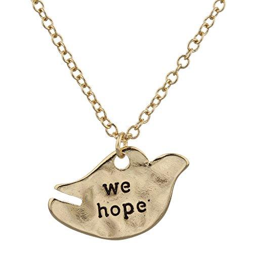LUX Zubehör Gold Ton Wir hoffen Inspirierende Verbiage Taube Charm Halskette