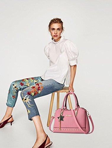 NICOLE&DORIS Donne Superiore Handle Handbags Borsa a tracolla Borsa Crossbody Ragazze Borsa della nappa della nappa Impermeabile PU Pelle Blu Rosa