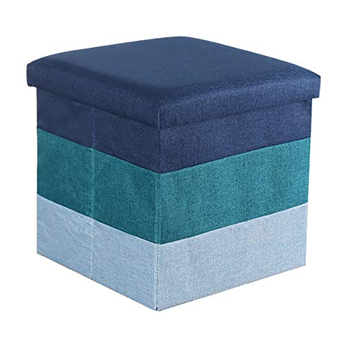 Lagerung Hocker LXF Speicher-Schemel-Osmane-Sitz-Speicher-Spielzeug-Kasten-Bank Mit Deckel-faltbaren Kinderspielzeug-Schuh-Kasten-Kasten-37 * 37 * 36cm (Farbe : Blau)