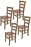 Tommychairs - 4er Set Stühle Venice für Küche und Esszimmer, robuste Struktur aus lackiertem Buchenholz im Farbton helles Nussbraun und Sitzfläche aus Holz. Set bestehend aus 4 Stühlen Venice