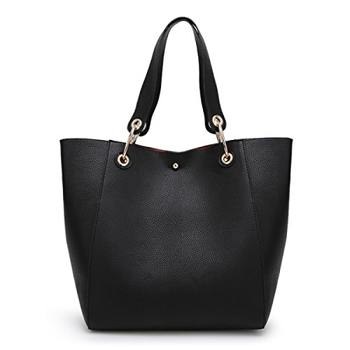 Signore PU Shopping Tote Bag Multi-color Black