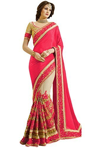 Regent-e Fashion Women\'s Satin & Net Embroidered Work with Real Diamond\'s Material Saree (Pink)