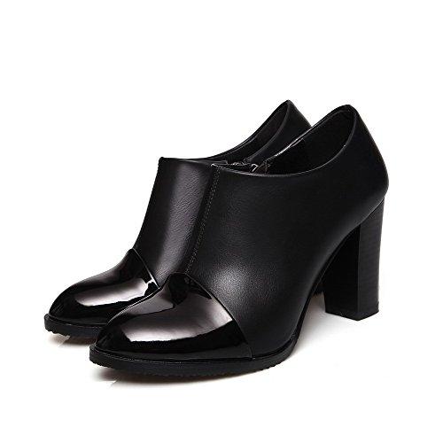 VogueZone009 Damen Hoher Absatz Gemischte Farbe Blend-Materialien Spitz Zehe Pumps Schuhe Schwarz