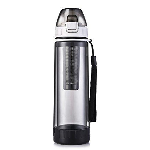 ONEISALL Sport-Wasserflasche 500 ml, tragbare Glas-Wasserflasche mit schützendem Kunststoff und Infuser, doppelwandiger Reisebecher für Tee, geeignet für Outdoor, Radfahren, Wandern, Schwarz (Glas-infuser)