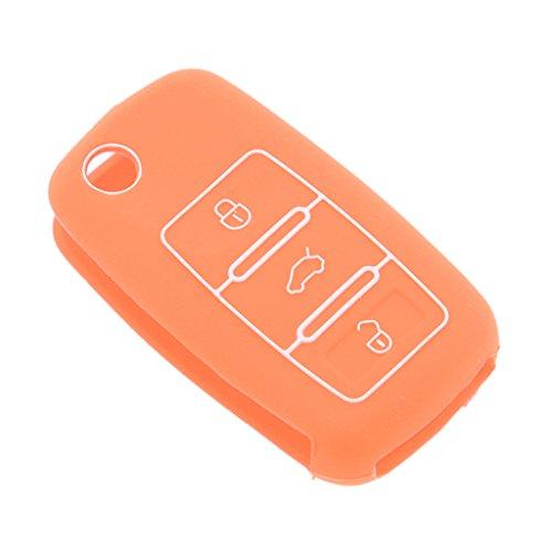 MagiDeal Protection Couvre Télécommande de Voiture en Silicone Pour VW Magotan Eos Golf - Orange