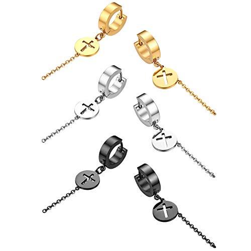 Flongo Herren Ohrstecker Creolen Damen Kreuz Ohrringe Ohrhänger, 6 Stück Set aus Edelstahl in Silber Schwarz Gold Stecker mit hängenden Kreuz Münze Kette Anhänger Männer, Frauen (Große Gold Münze Anhänger)