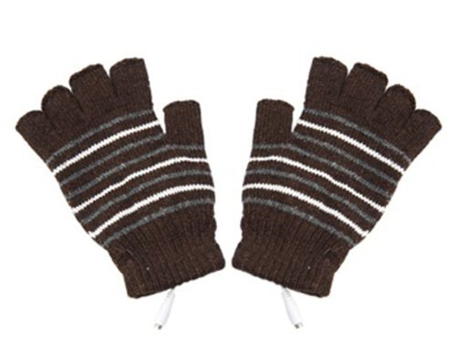 Stripe Pattern USB2.0 Heated Fingerless Gloves (Brown) + Envio mundial