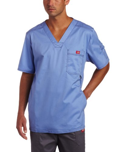 Dickies Herren Generation Flex Utility Scrubs V-Ausschnitt Shirt - Blau - X-Klein (Dickies Scrubs-x-klein)