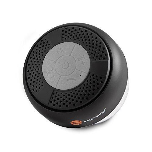 TaoTronics Altavoz Bluetooth Ducha Impermeable, con ventosa que se adhiere fácilmente a superficies lisas, Color Negro