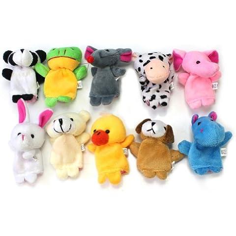 RHX Set de 10 marionetas de dedo de animales