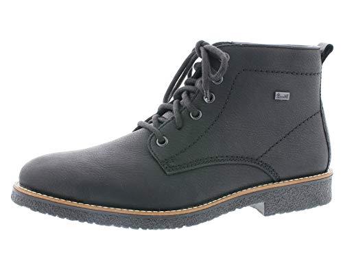 Rieker Herren Schnürstiefelette 33641,Männer Stiefel,Boots,Halbstiefel,Schnürboots,Bootie,flach,schwarz/schwarz, EU 43