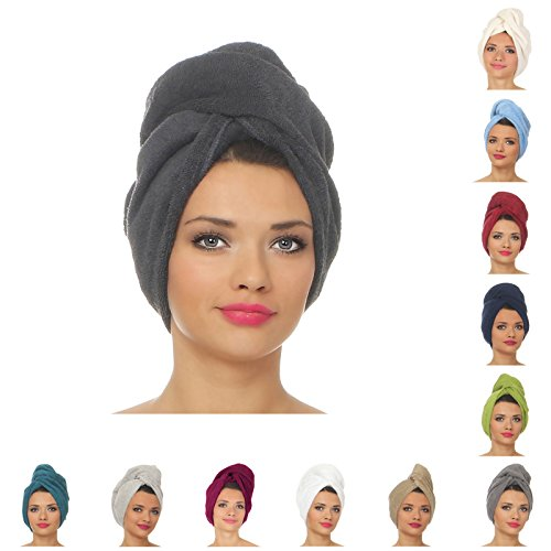 Frottee Baumwolle Haar-Turban Kopfhandtuch 72x27 cm Anthrazit (Frottee-turban)