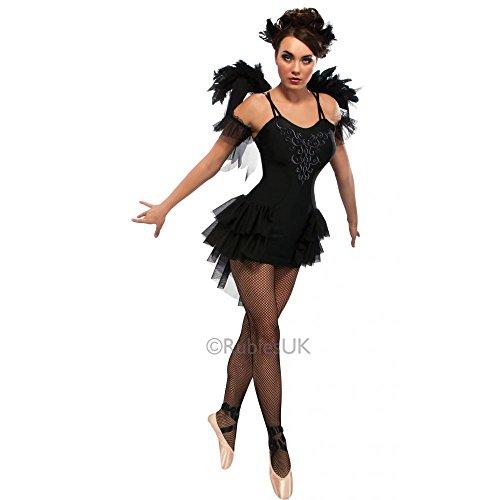 Halloween Kostüm Ballerina Swan Black (Black Swan - Adult Ladies Halloween Gothic Ballerina Costume Lady: L (UK:)
