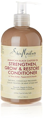 SheaMoisture 215592 acondicionador - acondicionadores (Unisex, No profesional, Carthamus Tinctorius (Safflower) Seed Oil, Ricinus Communis (Castor) Seed Oil, Isopropyl Myristate, , After shampooing with Jamaican Black Castor Oil Strengthen & Grow Shampoo, apply generously and comb)