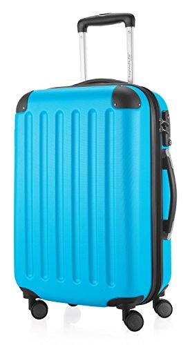 HAUPTSTADTKOFFER - Spree - Handgepäck Hartschalen-Koffer Trolley Rollkoffer Reisekoffer Erweiterbar, TSA, 4 Rollen, 55 cm, 42 Liter, Cyanblau -
