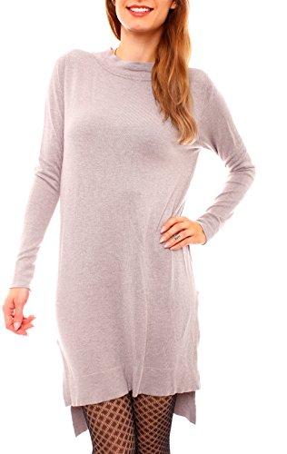 Damen Winter Feinstrick Vokuhila Longpullover Pullover Lang Minikleid Strickkleid Pulloverkleid Geschlitzt Stehkragen Langarm One Size Hellbraun Taupe
