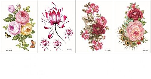 Grashine 4pcs toxiques étanches et non dans un seul paquet, il y compris 4pcs fleurs colorées, roses, pivoine et lotus temporaire tatouages