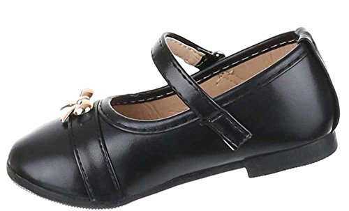 Kinder-Schuhe Ballerinas   elegante Slipper mit Riemchen und Schleife in verschiedenen Farben und Größen   Schuhcity24   Ballerinas in Lederoptik mit Klettverschluss Schwarz