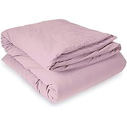 Housse de couette Palace 100% coton teint lavé (240 x 220 cm pour lit 2 places, Mauve)