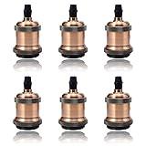GreenSun LED Lighting 6x Vintage Edison Lampenfassung E27 Fassung Deckenfassung Lampensockel Lampenfuß Retro Hängelampe Halter Pendelleuchte Adapter DIY Lampenzubehör, Rot Antique Brass