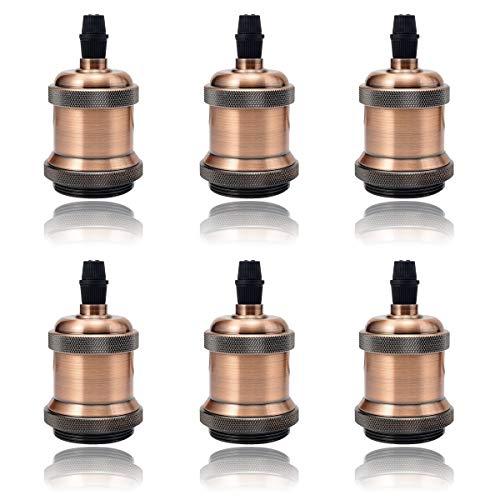 6x GreenSun LED Lighting Vintage Edison Lampenfassung E27 Fassung Deckenfassung Lampensockel Lampenfuß Retro Hängelampe Halter Pendelleuchte Adapter DIY Lampenzubehör, Rot Antique Brass