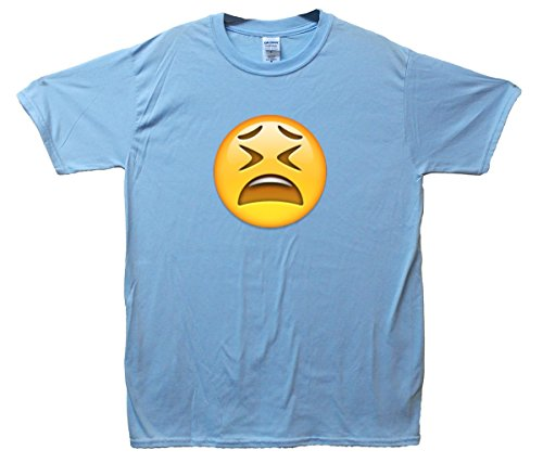 Tired Face Emoji T-Shirt Hellblau