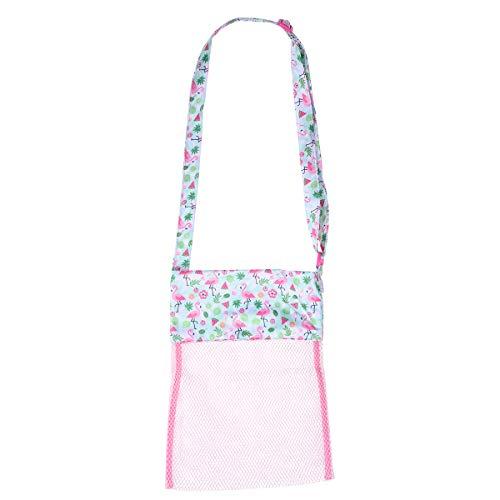 FENICAL Mesh Beach Bag Sommer Sea Shell Taschen Spielzeug Aufbewahrungstasche für Kind Kind (Pink Flamingo)