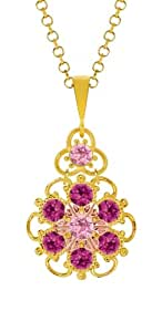 Lucia Costin Silver, Light Pink, Fuchsia Crystal Pendant, Lovely Garnished
