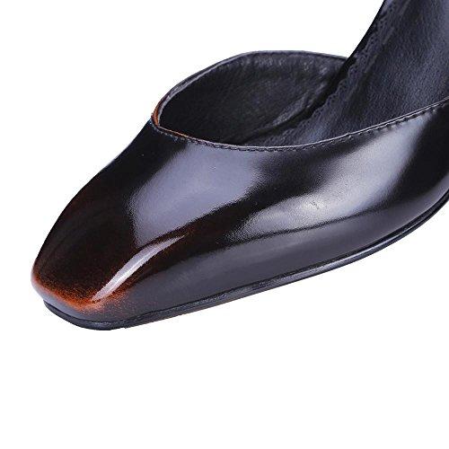 GJDE Scarpe di Estate Tacco Testa Quadrata Grossa Sandali Donna Pelle Sintetica con Plateau e Cinturino Caviglia bronze